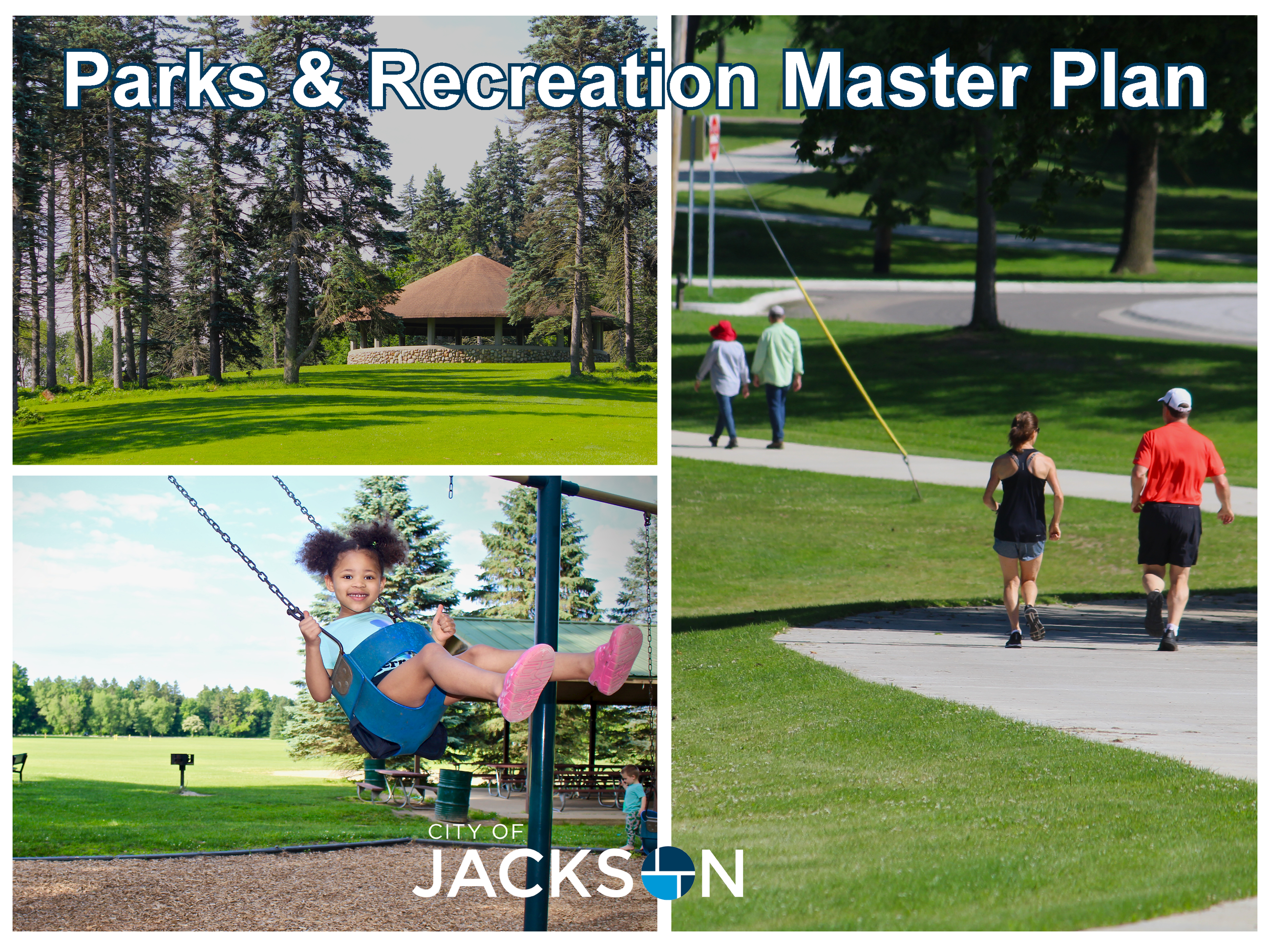 Three photos stitched together in one photo of parks and recreation activities. The Sharp Park rotun