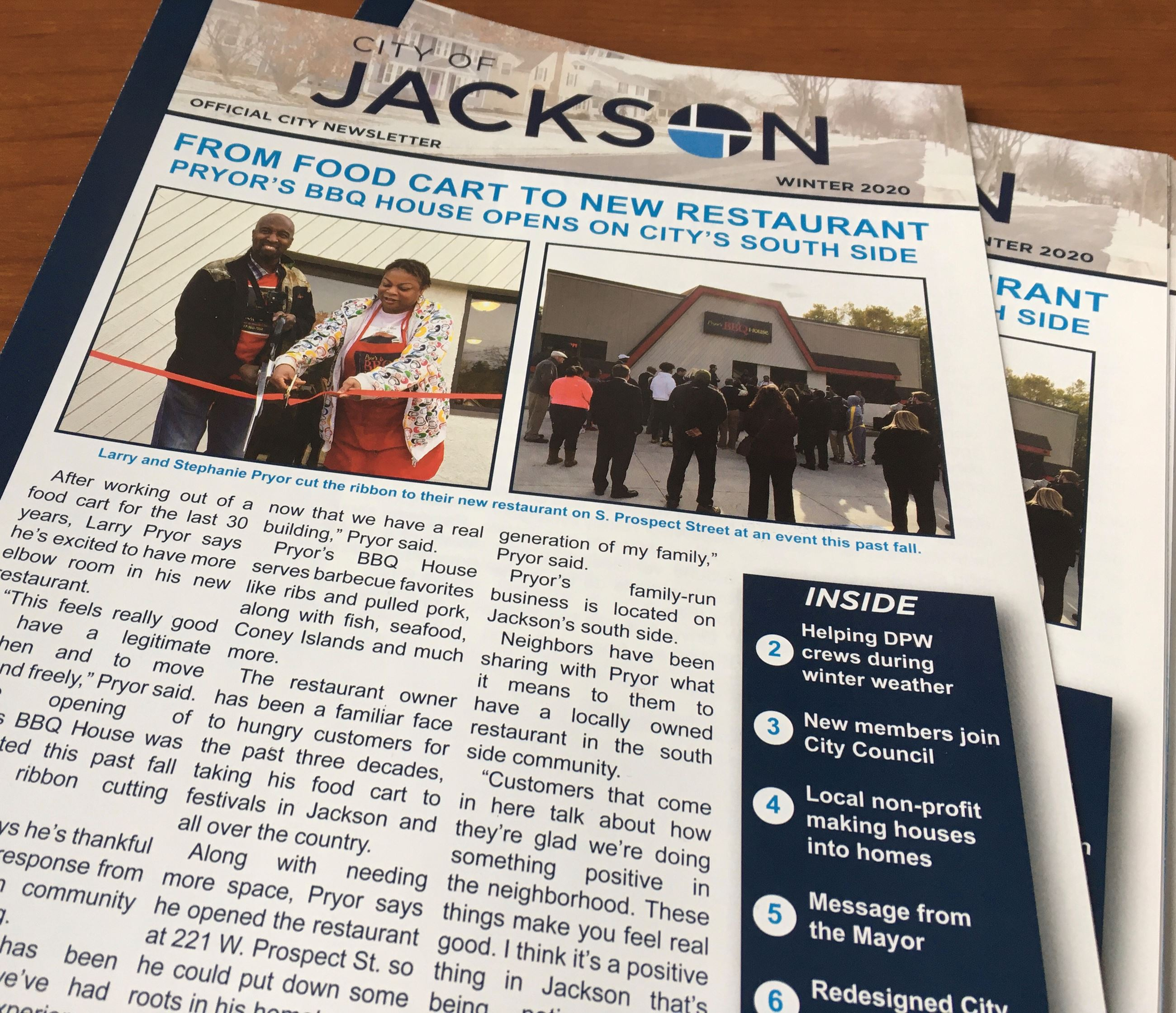 photo of the front page of the 2020 winter newsletter