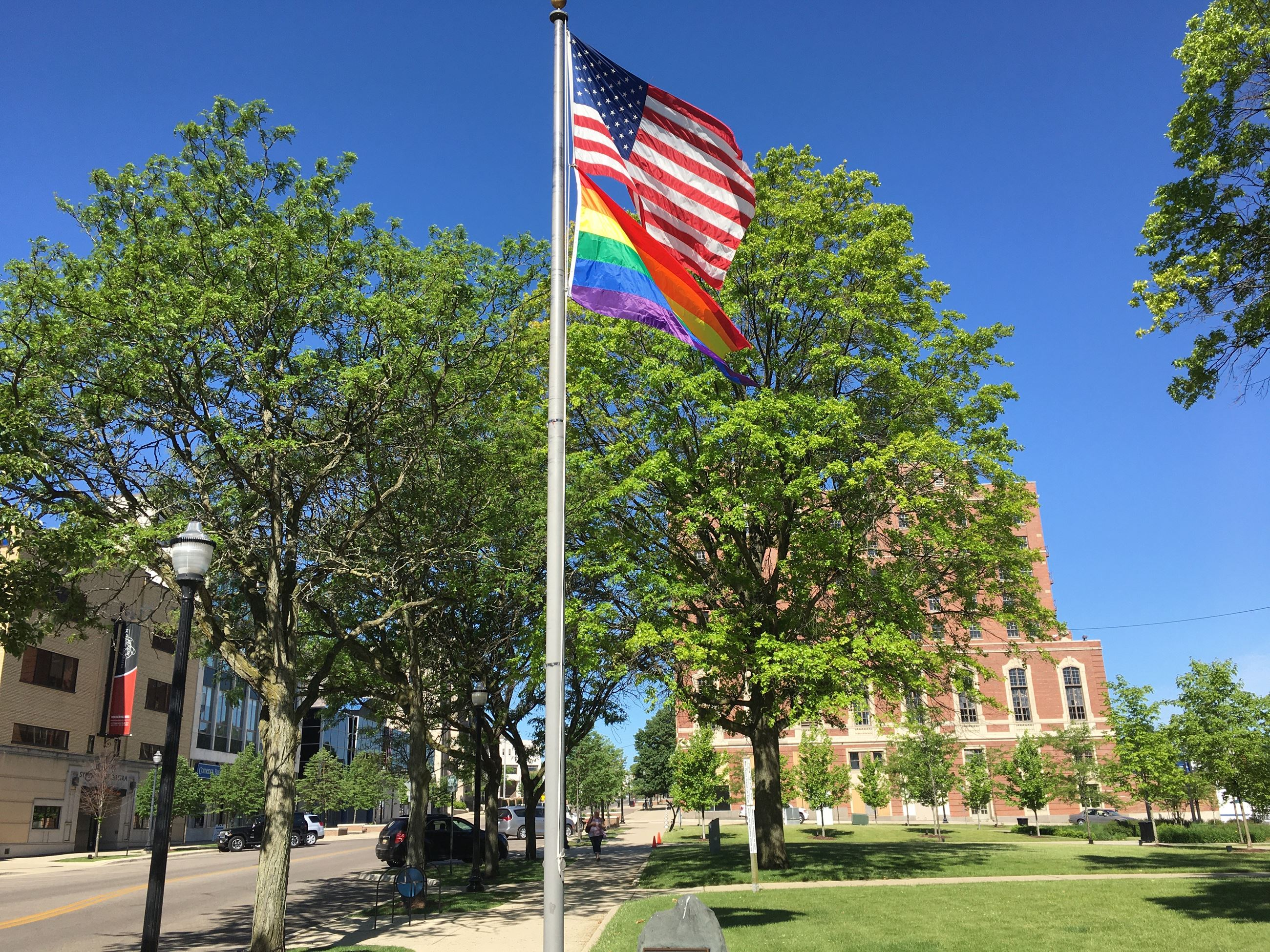 Pride flag in Downtown Jackson