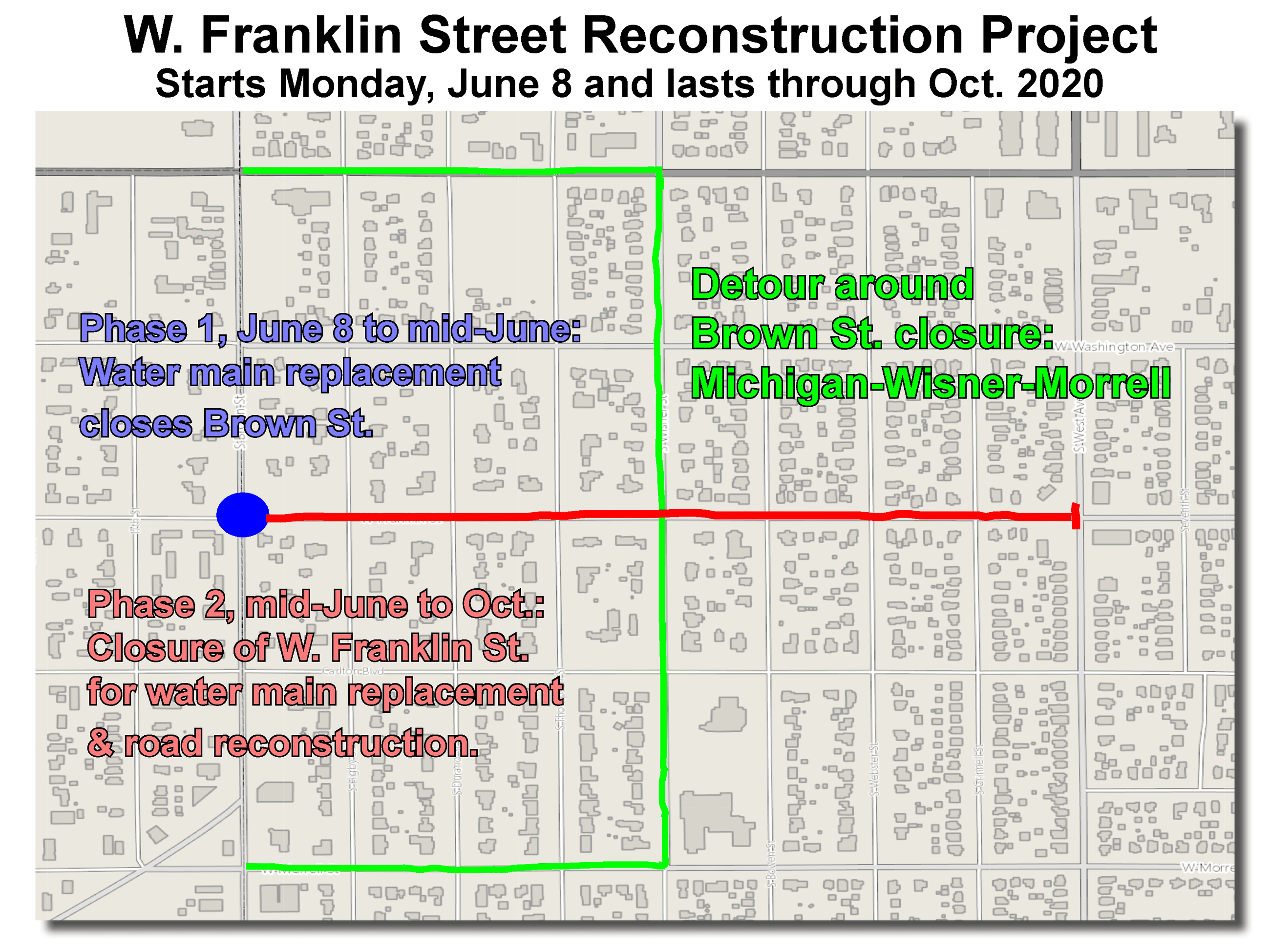 Franklin Street Construction Map